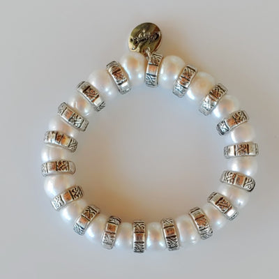 Pearl & Silver Stretch Bracelet - Beauty In Stone Jewelry
