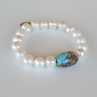 Gemstone Barrel & Pearl Stretch Bracelet - Beauty In Stone Jewelry