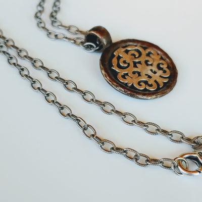Pendant Necklace On Textured Chain - Beauty In Stone Jewelry