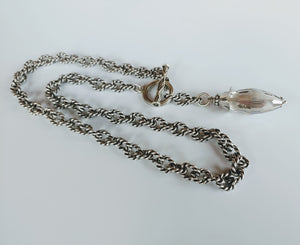 Thunder Crystal With Blue Or Silver Flash Necklace