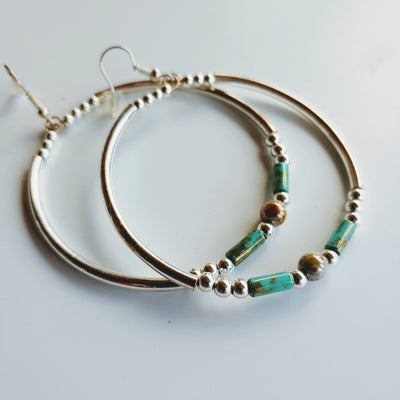 Big Hoop Earrings Aqua & Silver - Beauty In Stone Jewelry