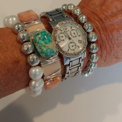 Blush, Aqua, Silver Bracelet Stack Set - Beauty In Stone Jewelry