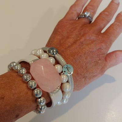 Pink, Silver, White Bracelet Stack Set - Beauty In Stone Jewelry