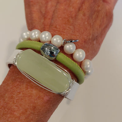 Green & Pearl Bracelet Stack Set - Beauty In Stone Jewelry