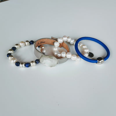 Blue & Gray Bracelet Stack Set - Beauty In Stone Jewelry