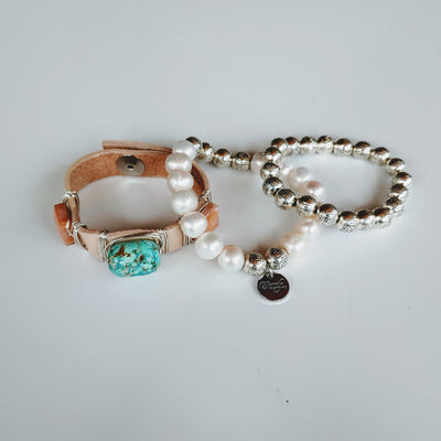 Turquoise & Blush Bracelet Stack Set - Beauty In Stone Jewelry