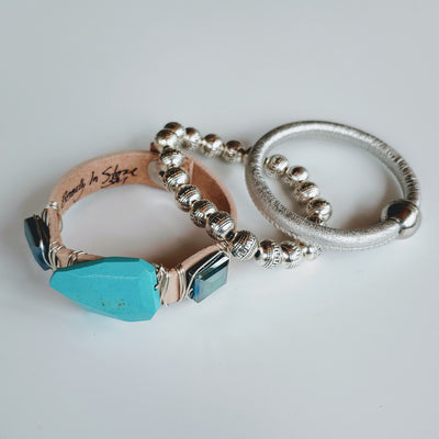 Turquoise & Silver Bracelet Stack Set - Beauty In Stone Jewelry