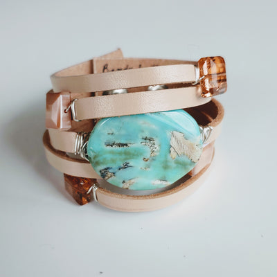 Leather Cuff with  Aqua Agate - Beauty In Stone Jewelry