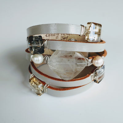 Leather Cuff Clear Quartz & Pearls On Gray - Beauty In Stone Jewelry