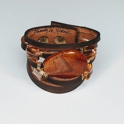 Leather Cuff Brown With Sienna Agate - Beauty In Stone Jewelry