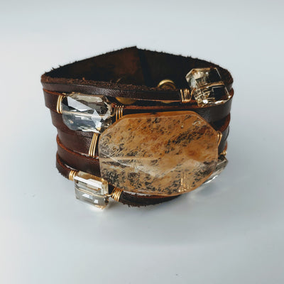 Leather Cuff Brown With Clear Moss Agate - Beauty In Stone Jewelry