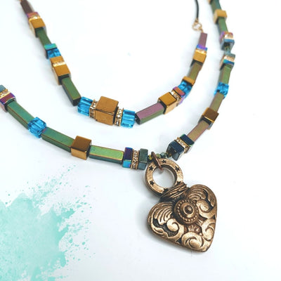 Multi-Color Necklace With Heart - Beauty In Stone Jewelry