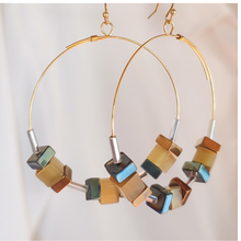 Load image into Gallery viewer, Cube Hoop Earrings Bronze Mix