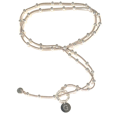 Big Link Silver Beaded Lariat on Suede Leather - Beauty In Stone Jewelry