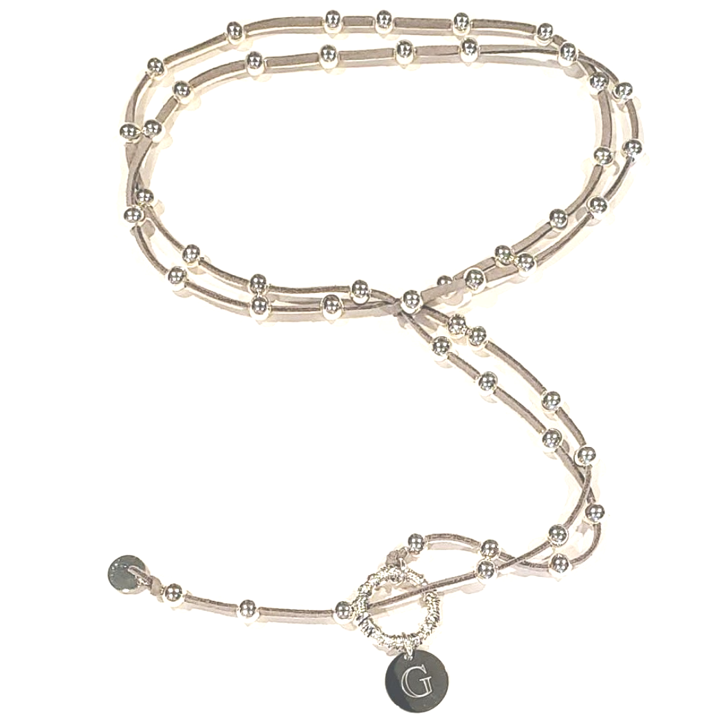 Big Link Silver Beaded Lariat on Suede Leather