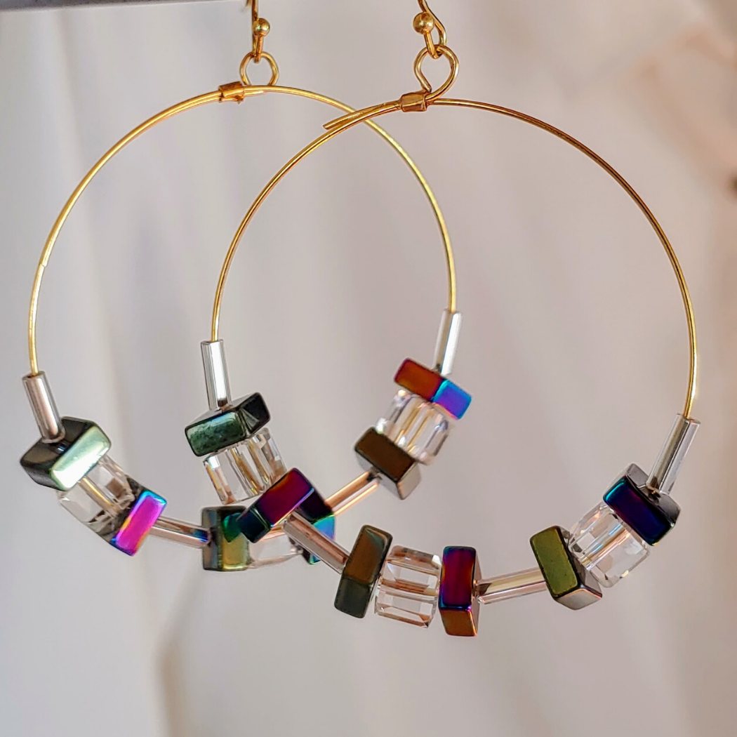 Cube Hoop Earrings Blue/Green Iridescent Metals