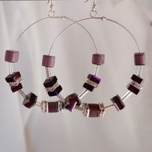 Load image into Gallery viewer, Cube Hoop Earrings Purple Mix
