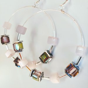 Cube Hoop Earrings Pink Mix