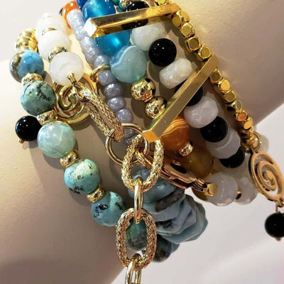 """Caribbean"" Mix Colored Unique Beaded Wrap Bracelet - Beauty In Stone Jewelry"