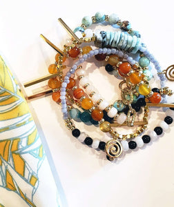 """Caribbean"" Mix Colored Unique Beaded Wrap Bracelet"