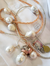 Load image into Gallery viewer, Freshwater Pearl Drop Necklace With Blush Crystal