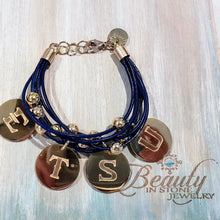Load image into Gallery viewer, ETSU school jewelry leather bracelet with engraved charms