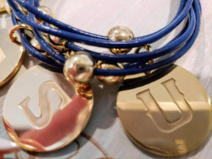 ETSU school jewelry leather bracelet with engraved charms