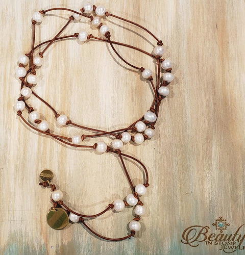 Knotted Pearl Leather Lariat
