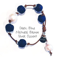 Load image into Gallery viewer, Leather Bracelet with Beach Glass & Pearls