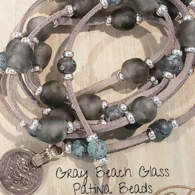 Beach Glass & Patina Lariat Necklace - Beauty In Stone Jewelry