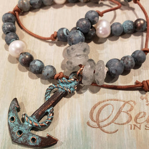 Leather Anchor Necklace with Patina & Pearls