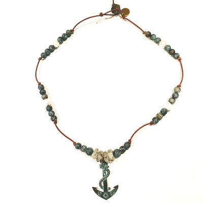 Anchor Necklace On Leather With Patina Beads & Pearls - Beauty In Stone Jewelry