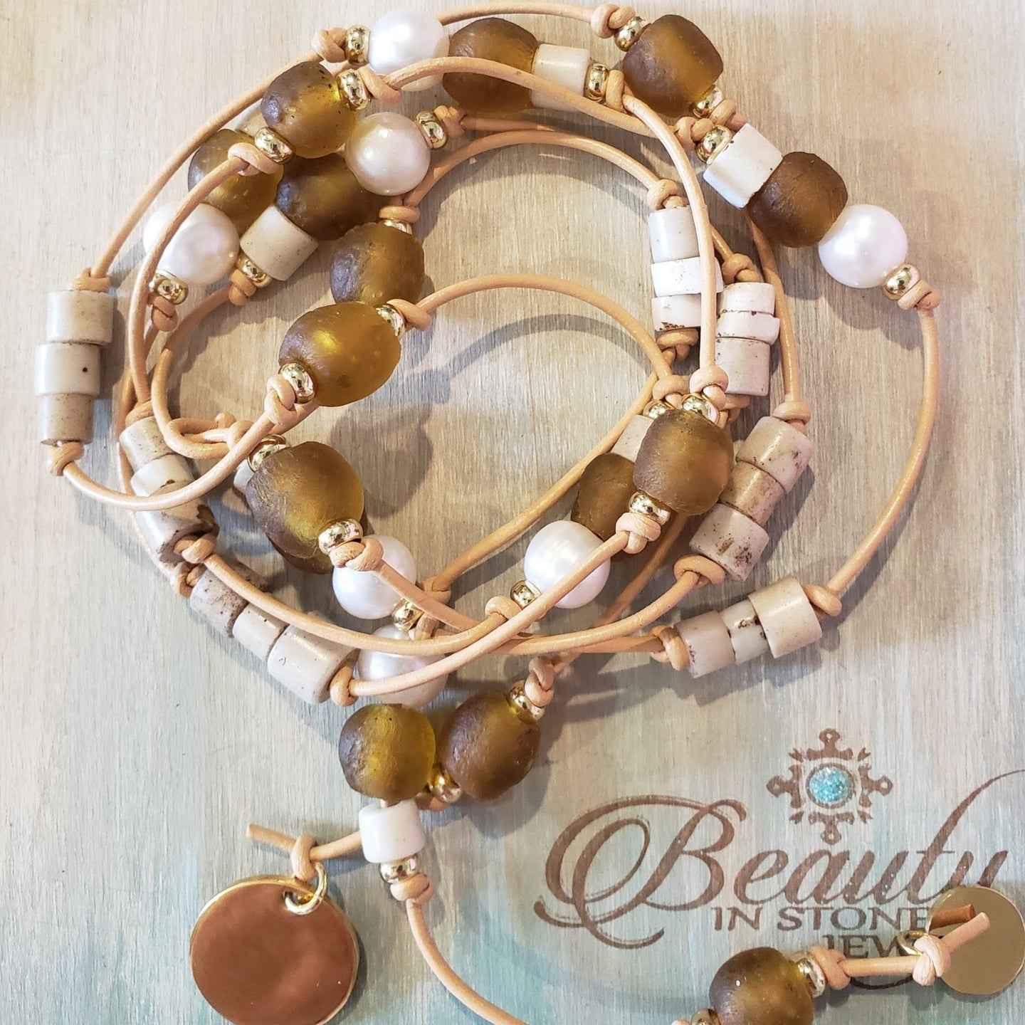 Amber Beach Glass & Pearl Lariat Necklace