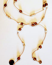 Load image into Gallery viewer, Amber Beach Glass & Pearl Lariat Necklace