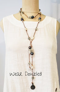 Peacock Pearl Long Lariat Necklace