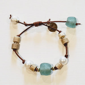 Leather Bracelet with Beach Glass, Pearls & Porcelain
