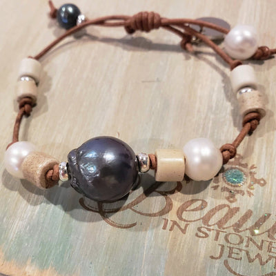 Peacock Pearl Leather Bracelet - Beauty In Stone Jewelry