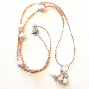 Freshwater Pearl Drop Necklace With Blush Crystal