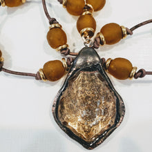 Load image into Gallery viewer, Amber Beach Glass Necklace With Crystal Pendant