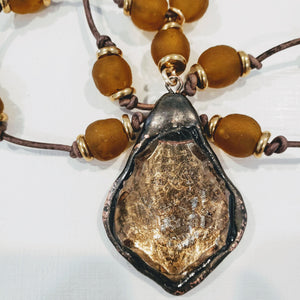 Amber Beach Glass Necklace With Crystal Pendant