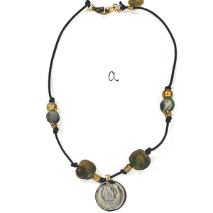 Leather Coin & Beach Glass Necklace