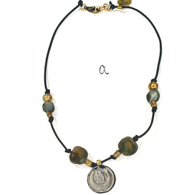 Leather Coin & Beach Glass Necklace - Beauty In Stone Jewelry