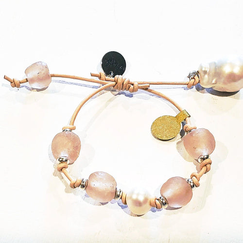 Leather Bracelet with Beach Glass & Pearls