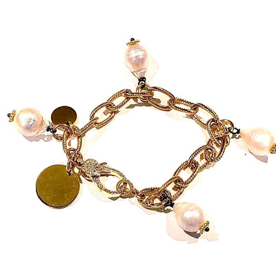 Chain Link Bracelet Gold With Pearls - Beauty In Stone Jewelry