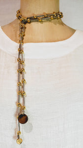 Gold Beaded Lariat On Suede Leather