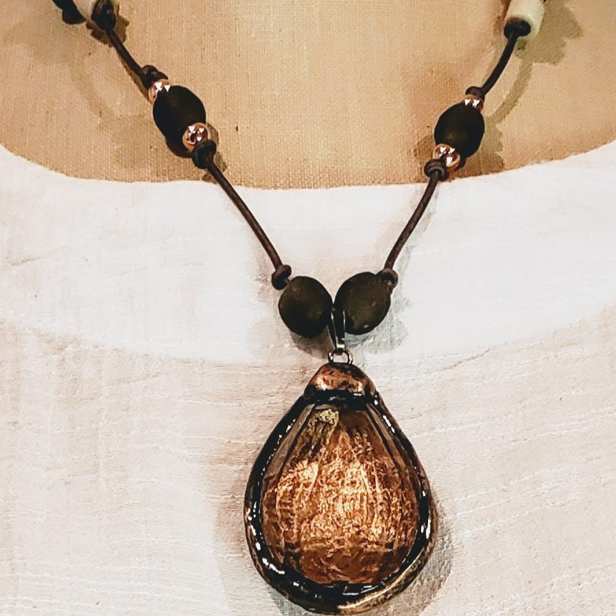 Dark Gray Beach Glass Necklace With Crystal Pendant