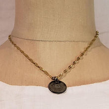 Load image into Gallery viewer, vintage coin on shiny chain necklace