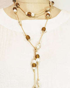 Amber sea glass and pearl necklace