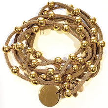 Load image into Gallery viewer, Gold Beaded Lariat On Suede Leather