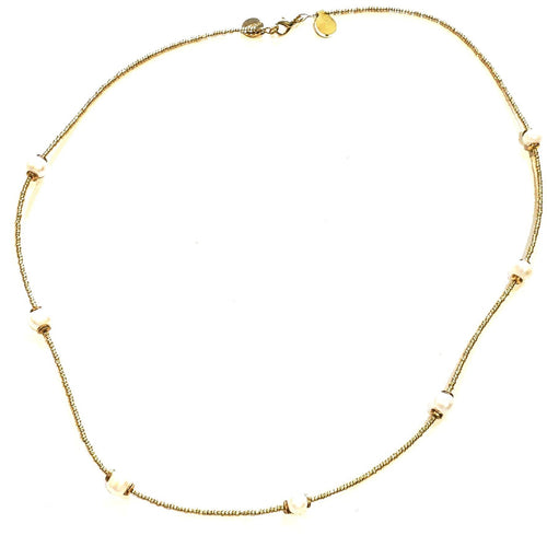 Matte gold & pearl necklace